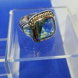 Swiss Topaz 3 Stone Ring Cable Twist Blue 7.5